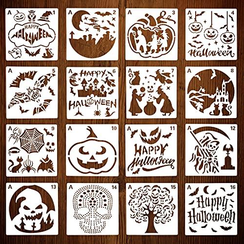 KINBOM 16 Plantillas 20x20 cm Plantillas Halloween, Reutilizables Grandes Plantillas Calabaza Halloween Manualidades Búhos Calabazas Patrones Araña Pintura Mural Azulejo Boceto Bricolaje