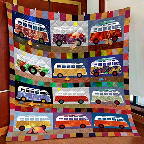 Vw Bus Colorful Quilt Blanket Outdoor Picnic Beach Blanket Twin Throw Queen King Size Bed Quilts Best Decorative for Bed, Couch, Sofa, Chair, Swing, Daybed, Home Decor