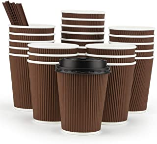 Eupako 12 oz Disposable Paper Coffee Cups with Lids and Straws 80 Set, Insulated Corrugated Sleeve Hot Drink Cups To Go, Perfect for Hot and Cold Drinks, Brown
