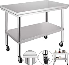 VEVOR NSF Stainless Steel Work Table with Wheels 36x24 Prep Table with casters Heavy Duty Work Table for Commercial Kitchen Restaurant Business Garage (36