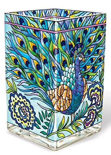 Amia 42018 Hand Painted Glass Vase/Candle Votive, 6-Inch, Peacock Design