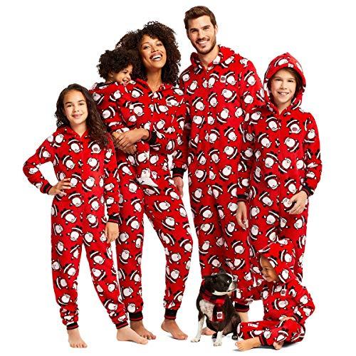 WangsCanis Pigiama Famiglia Natale Camicie da Notte Natalizie con Zip Pagliaccetto con Cappuccio Stampata Babbo Natale per Mamma/papà/Bambino Pigiama Intero (Bimbo/Bimba, 3-6 Mesi)