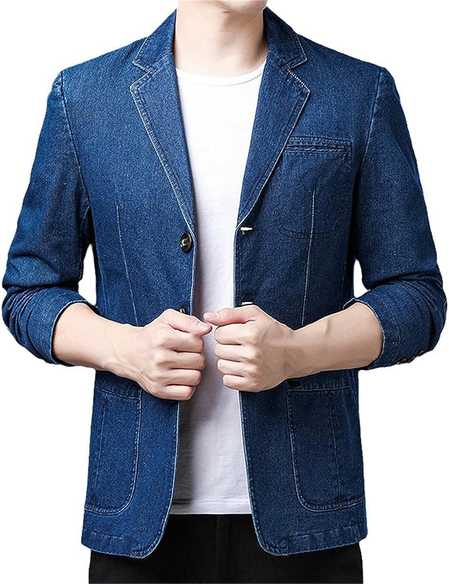 Pure Cotton Casual Washed Denim Suit Jacket Men's Slim Fit Soft Suit Jacket Classic Notched Collar Button