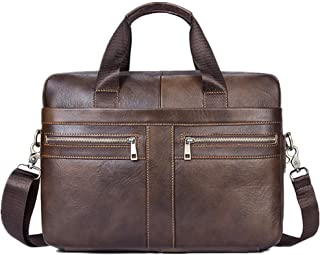 Mens Bag New Men's Leather Briefcase Messenger Bag Tote Retro Large Capacity Tote High capacity