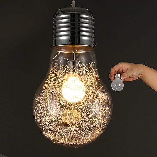 SHIQUNC Grande Lampe Suspension, Plafonnier Verre, matériau de résistance à Haute température, Abat-Jour épais, E27, 220V