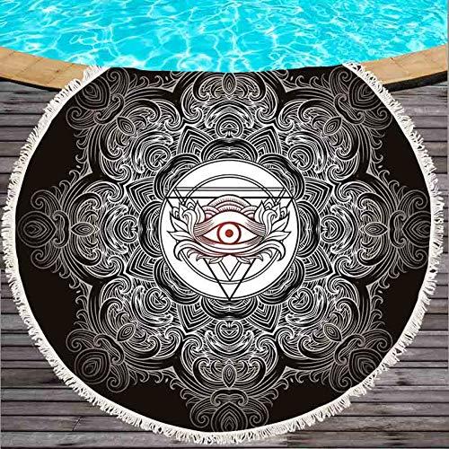 VIOYO strandlaken Summer Large microfiber bedrukte ronde strandhanddoeken met kop Bath Towels Shawl Mat dikke 150 x 150 cm