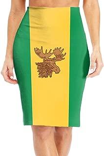 Moose Jaw Flags Women's Midi High Waist Skirt Fashion Pencil Skirt Knee Skirts for Office Wear