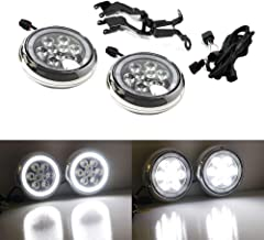iJDMTOY Chrome Finish LED Rally Driving Lights For MINI Cooper w/Halo Ring LED Daytime Running Lights, Powered by (9) High Power 3W LED Lights for Driving Lamps & (30) LED Lights as DRL