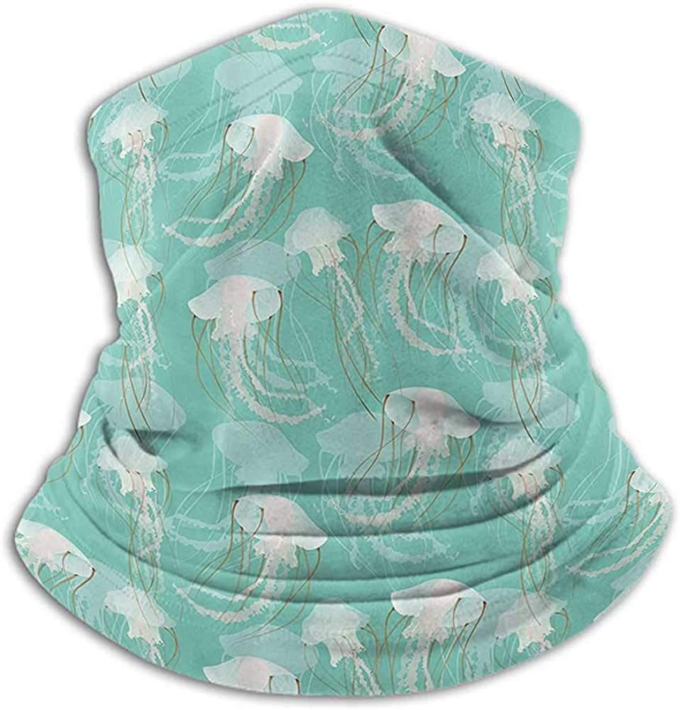Hair Scarf Jellyfish by Decor Cold Weather Face Cover Marine Animal with Poisonous Tentacles Aquatic Themed Artwork Pattern Teal Green