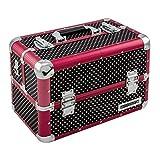 anndora Beauty Case Kosmetikkoffer Schmuckkoffer 21 L - Alu rot schwarz Punkte