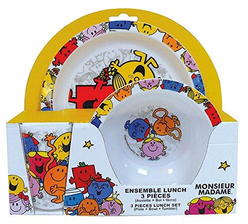 FUN HOUSE 005185 Monsieur Madame Ensemble de Repas pour Enfants - 3 pièces, Polypropylène, Multicolore, 26,5 x 7 x 25 cm