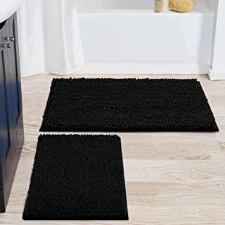 smiry バスルームラグとマットセット シェニール織バスマット2枚セット 洗濯機乾燥 ノンスリップ吸収シャギーバスラグ バスルーム シャワー 浴槽用 (20インチ x 32インチ + 17インチ x 24インチ ブラック)