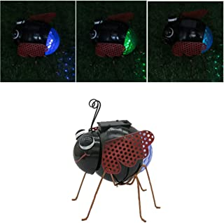 GDF Solar Garden Lights Outdoor Decorative Ladybug LED Lights Waterproof Insect Solar Stake Lights with with Rotating Lamp for Garden Patio Backyard Decorations