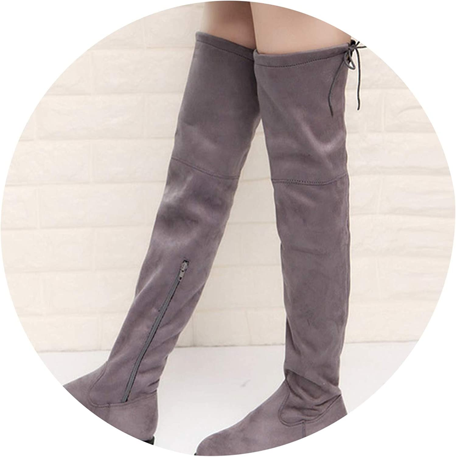 Slim Boots Sexy Over The Knee High Suede Women Snow Boots High Boots shoes Woman