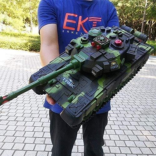 BJINDH Große Fernbedienung Panzer Spielzeug Kinder Metall Elektro-Geländewagen Große Funkuhren Modell Behälter-Spielzeug-RC mit USB-Kabel Fernbedienung Panzer Tank (Color : Grün, Größe : 44cm)
