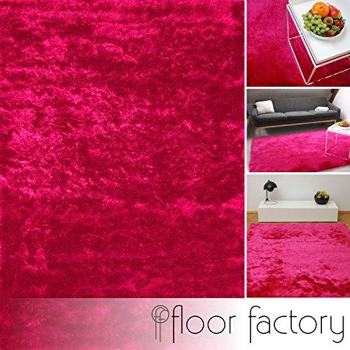 floor factory Exklusiver Hochflor Shaggy Teppich Satin rosa/pink 80x150 cm - edler, seidig glänzender Teppich