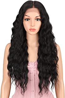 JOEDIR 26¡± Deep Curly Wavy Supreme Free Parting Lace Frontal Wigs High Temperature Synthetic Human Hair Feeling Wigs For Black Women 180% Density Wigs Ombre Color 200g(1B)