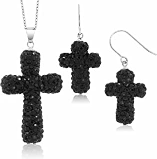 Gem Stone King Sterling Silver Black Pave Crystal Cross Pendant and Earrings Set with 18inches Chain