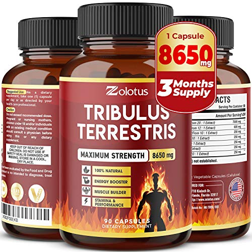 Tribulus Terrestris, 8650mg Per Capsule, Highest Potency with Ashwagndha, Panax Ginseng, Saw Palmetto, Maca, Shilajit. Boost Energy, Mood, Stamina & Performance, for Men & Women, 3 Months Supply.