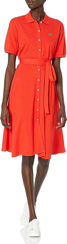 Lacoste Women's Short Sleeve Buttondown Pique Dress Polo Belted Max Phoenix Mall 65% OFF