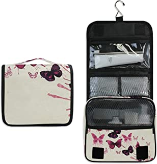 Travel Hanging Toiletry Bag Butterflies Watercolor Art Cosmetic, Makeup and Toiletries Organizer   Compact Bathroom Storage   Home, Gym, Airplane, Hotel, Car Use