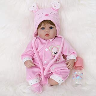 ENA Reborn Baby Doll Realistic Silicone Vinyl Pink Mouse Baby 16 inch Weighted Soft Body..