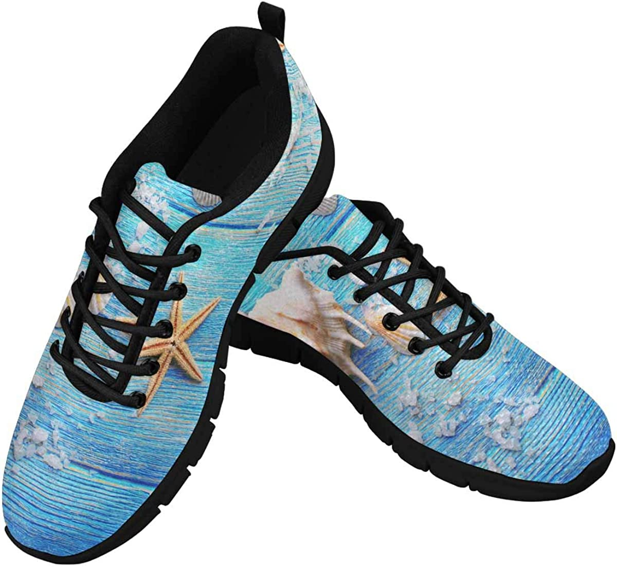 InterestPrint Starfish Seashell Wooden Women's Athletic Mesh Breathable Casual Sneaker