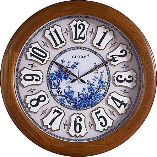 horloge murale en Bois Massif Chinois rétro muet Salon Chambre Table Suspendue Bleu et Blanc