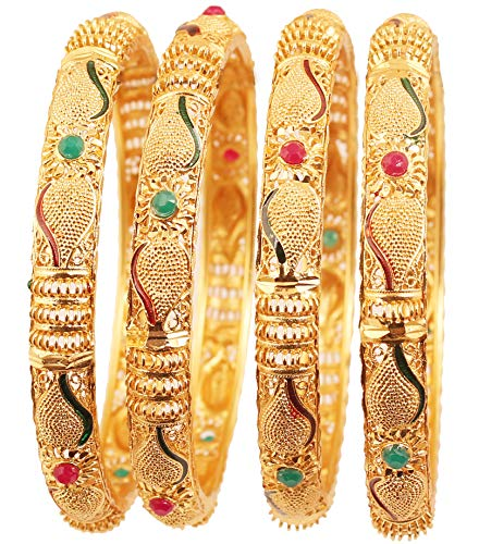 Touchstone New Golden Bangle Collection Indian Bollywood Desire Beautifully Carved Conch Shell Inspired Faux Ruby Emerald Thick Designer Jewelry Bangle Bracelets. Set of 4. in Gold Tone for Women