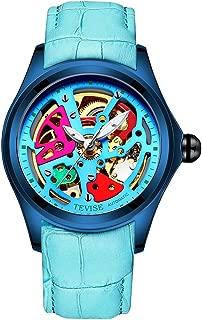 IPOTCH TEVISE Mens Watch Luxury Automatic Mechanical Watch Waterproof Luminous Leather Strap Wristwatch