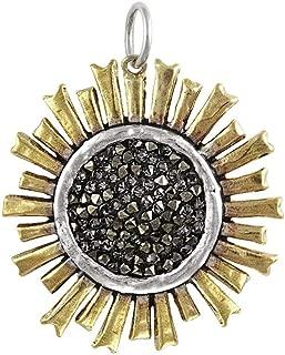 Be The Light Sterling Silver, Brass & Swarovski Crystals Sun Pendant