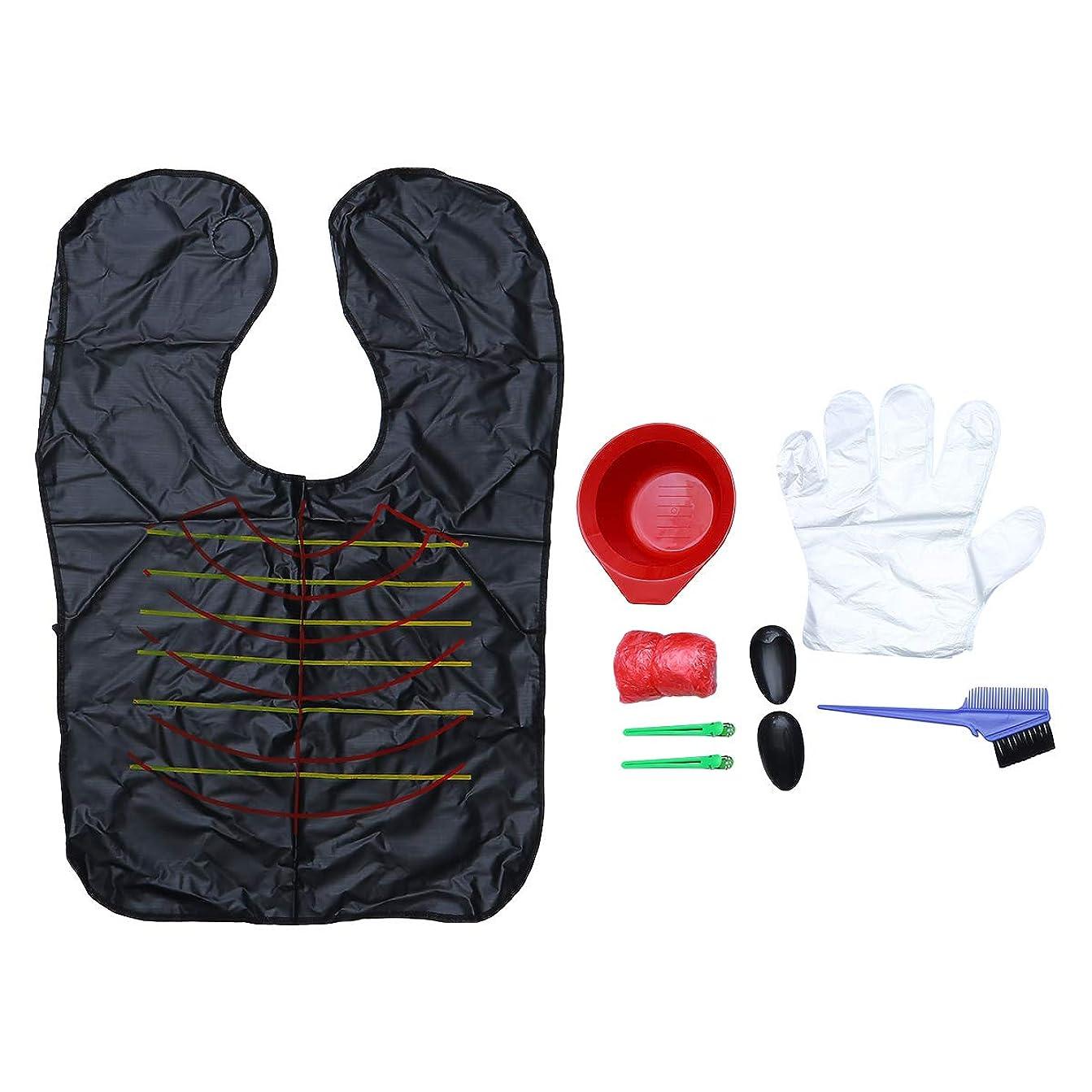 スーパーファンシー振り子Healifty 9Pcsヘアダイカラーリングキットヘアダイブラシボウルケープイヤーカバーヘアクリップヘアカラー手袋家庭用(ブラシ、ランダムカラー用クリップ)