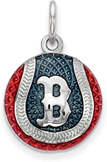 MLB Boston Red Sox Sterling Silver Boston Red Sox Enameled Baseball Charm Size One Size