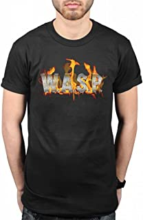 Official WASP World Domination T-Shirt Flaming Logo Fire Heavy Metal Band