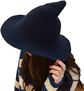 Hozzi Women's Halloween Witch Hat Wool Knitted Cap for Party Cosplay Costume Accessory