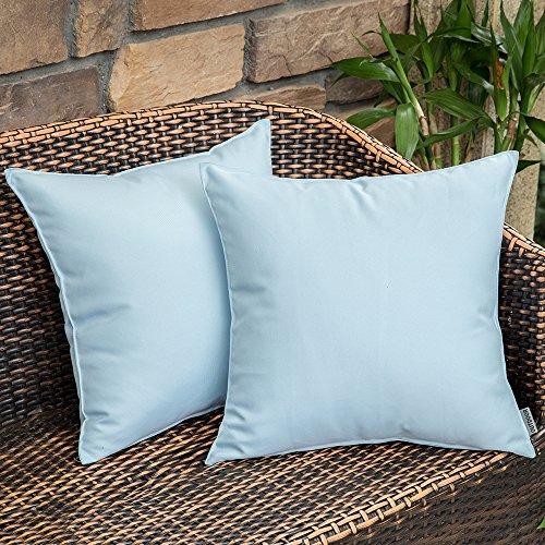 MIULEE Packung von 2 wasserdichte Sofa Kissenbezug Kissenhülle im freien Set Kissen Fall für Sofa Schlafzimmer 18x18 inch 45x45 cm Hellblau