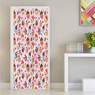 Pink,Door Sticker Wall Paper Kitchen Cupcakes Muffins Decor Door Mural W23.6xH78.7