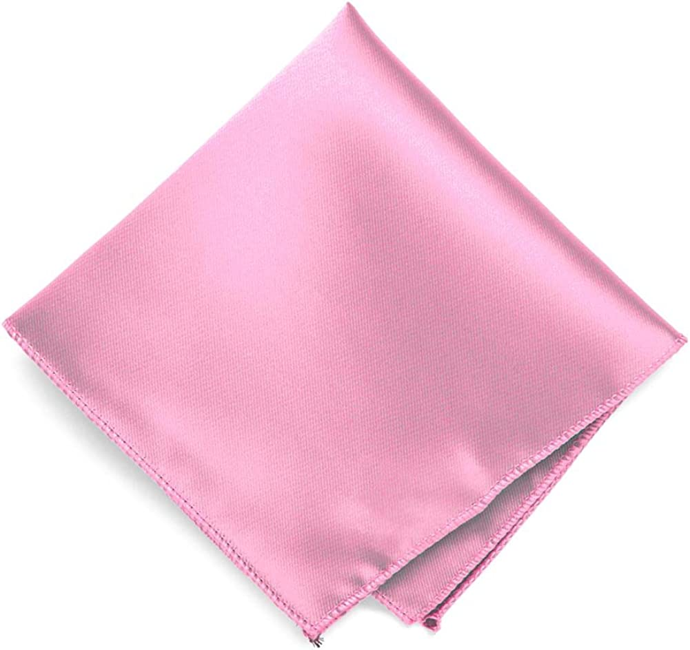 TieMart Pink Solid Color Pocket Square