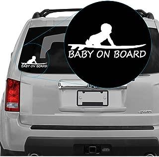 Yoonek Graphics Baby on Board Boy on Surfboard Decal Sticker. 6