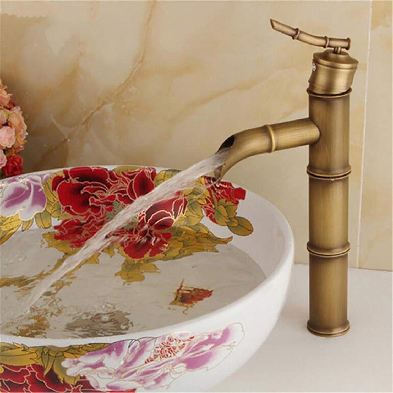 Bathroom Faucet Single Handle Bamboo Water Tap Antique Bronze Finish Brass Basin Sink Basin Fauce