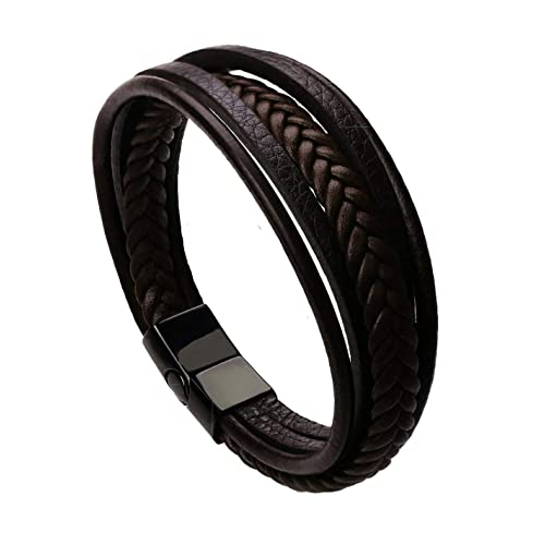 The Jewelbox Braided Multi-Layer Wrap Matte 100% Genuine Brown Leather Wrist Band Strand Bracelet Boys Men Friendship Day Gift