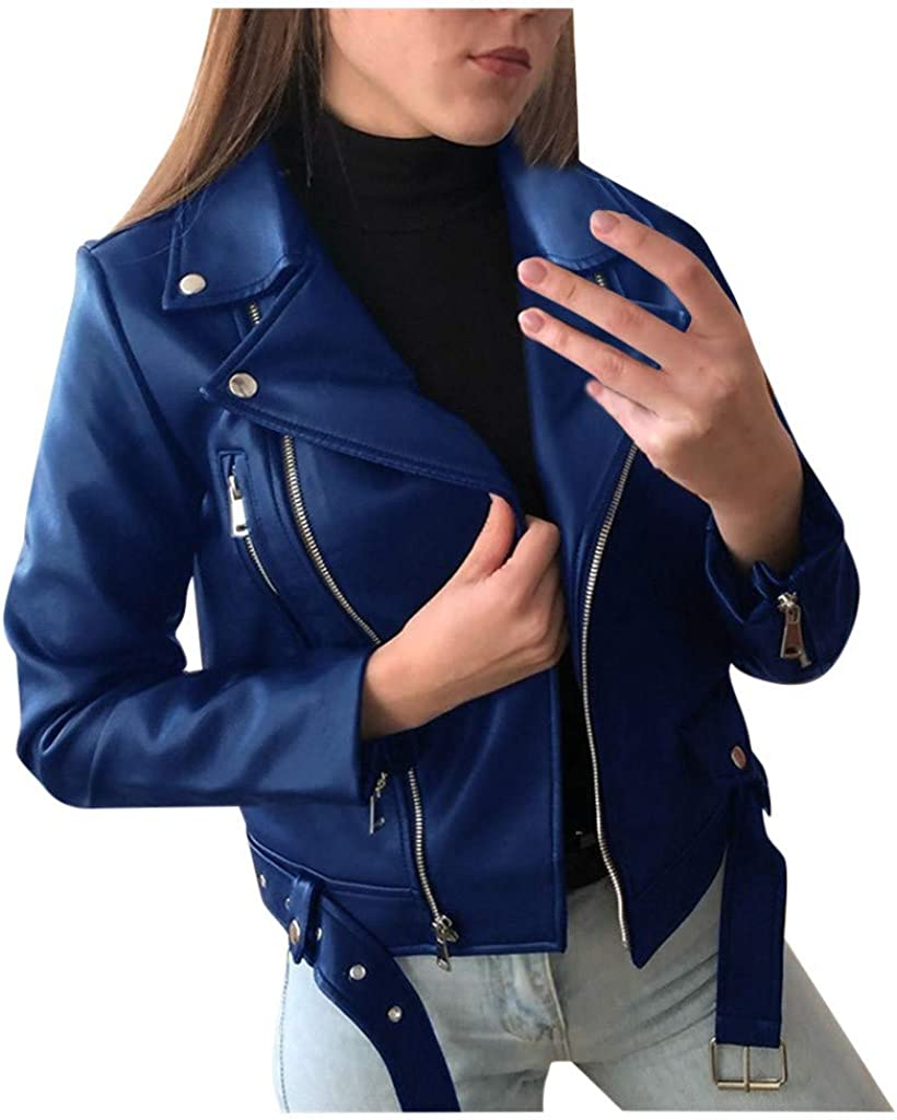 Women Cool Faux Leather Jacket Long Sleeve Zipper Fitted Coat Fall Short Jacket Woman Tops and Blouse Winter