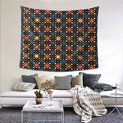 JKTOWN Abstract Wall Tapestry Wall Hanging 80x60 inch Geometric Trippy Forms in Funky Tones Digital Puzzle Game Style Urban Illustration Multicolor