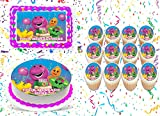 Barney Cake Topper Edible Image Personalized Cupcakes Frosting Sugar Sheet (8' X 11' Cake Topper)
