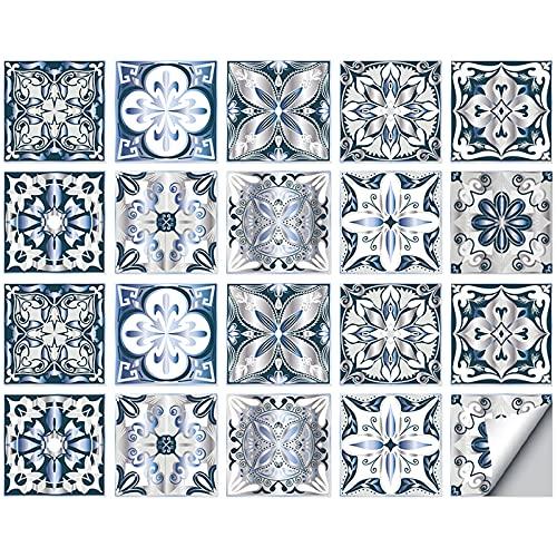 Adhesivo de tela para cuarto de baño y cocina, 20 piezas autoadhesivas de Mosaico, azulejos de pared, impermeable, papel de azulejos, bricolaje para decoración del hogar (15 x 15 cm)