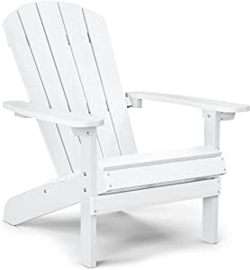 YEFU Plastic Adirondack Chairs Weather Resistant, Patio Chairs 5 Steps Easy Installation, Like Real Wood, Widely Used in Outdoor, Fire Pit, Deck, Lawn, Outside, Garden Chairs (Cream White)