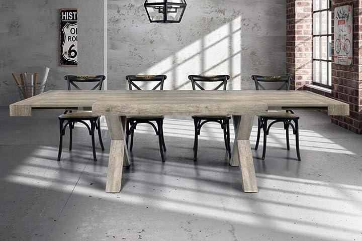 Tavolo da pranzo moderno di design allungabile cm 90 x 180/230/280 invecchiato grigio milani home 76143530