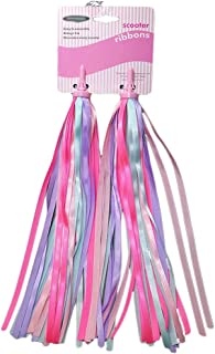 Vosarea A Pair of Bike Handlebar Streamers - Kid's Bicycle Bow Design Streamers - Easy Attachment to Cycle's Handlebars (Pink and Purple)