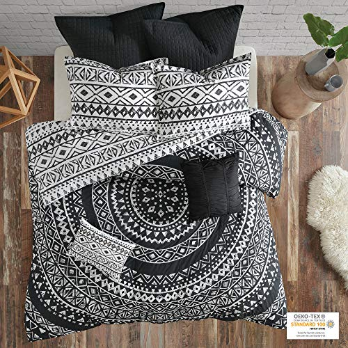 Urban Habitat Larisa Duvet Cover Reversible 100% Cotton Percale Sketched Shapes Stripes Printed Soft Corner Ties Quilted Euro Pleated Dec All Season Bedding-Sets, Full/Queen(88