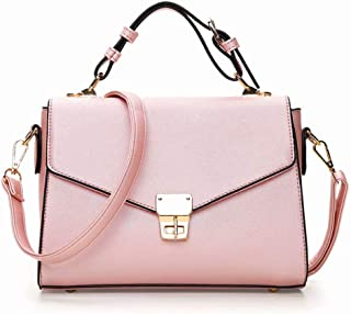 JINIU Women Cross-body Bags Girls' PU Leather Pure Color trendy Top-handle Bag With Metal Buckle
